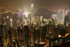 Hong Kong de nuit depuis le Peak